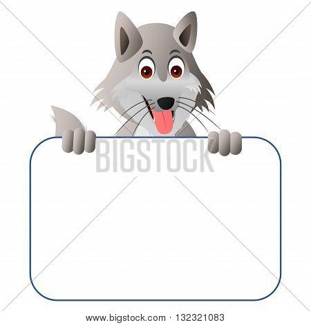 cute cartoon wolf with a blank board