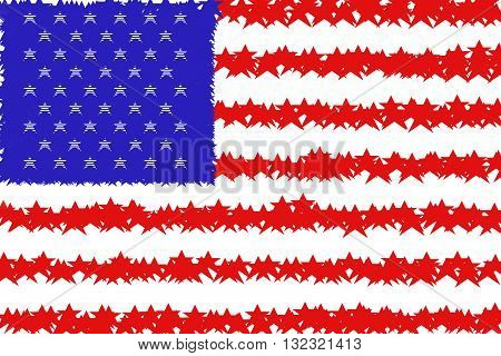 Rough stars made of stripes and stripes made of stars stylised blue red white colorful american flag