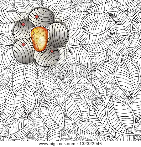 Vector zentangle seamless pattern With flower, leaves, colored  jewel. Hand drawn texture with jem