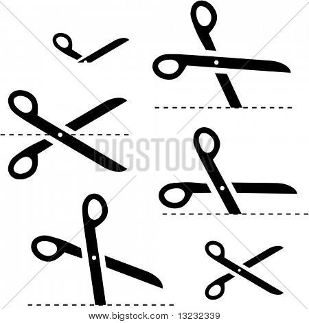 Vector scissors with cut lines poster