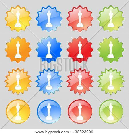 Oscar Statuette Icon Sign. Big Set Of 16 Colorful Modern Buttons For Your Design. Vector