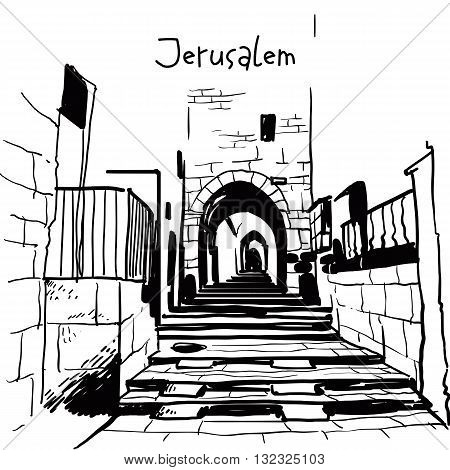 Jerusalem Israel old city skyline.Street in old city. Handmade drawing isolated in vector. Postcard poster template. Freehand drawing. Jerusalem city view background