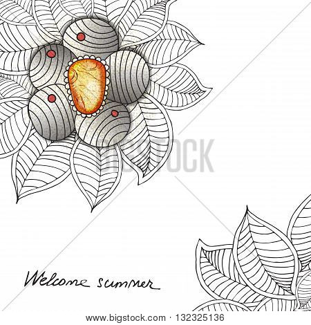 Vector template floral universal card with flower, leaves, jewerly. Hand drawn zen tangle texture with jem. black and white