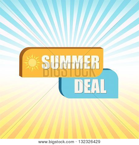summer deal - orange and blue box over rays, vector