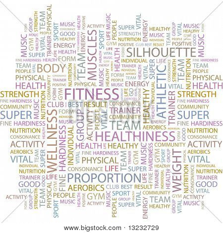 FITNESS. Word collage on white background. Vector illustration.