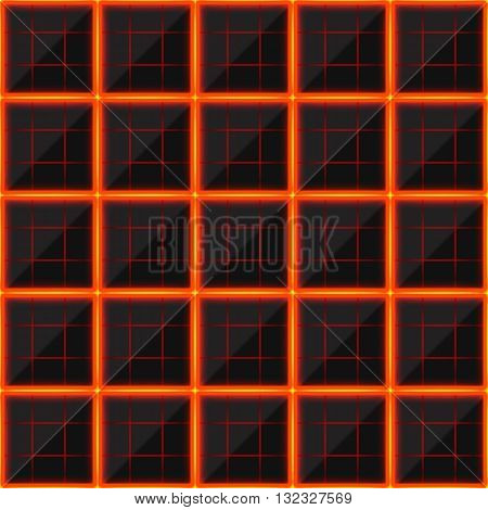 Squares of black stone with hot streaks of energy. Seamless vector texture. Technology seamless pattern.Vector geometric dark background.