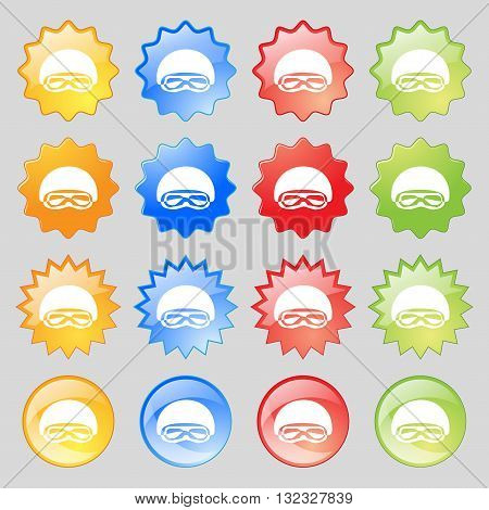 In A Ski Masks, Snowboard Ski Goggles, Diving Mask Icon Sign. Big Set Of 16 Colorful Modern Buttons