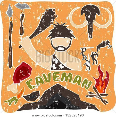 Vector Grunge Poster Of Paleo Food And Caveman Theme