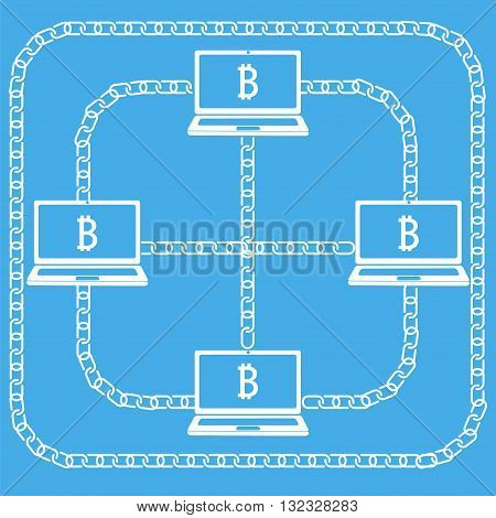 Blockchain technology concept. Laptops connected by chain with bitcoin emblem on screen. Vector illustration of distributed database for web security cryptography virtual money secure e-business.