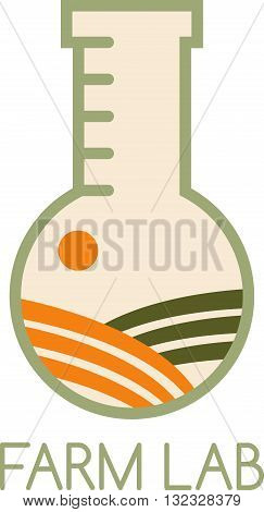 Farm Lab Vector Design Template With Field