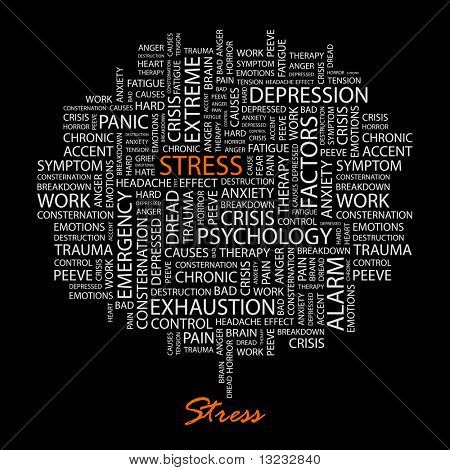STRESS. Word collage on black background. Vector illustration.