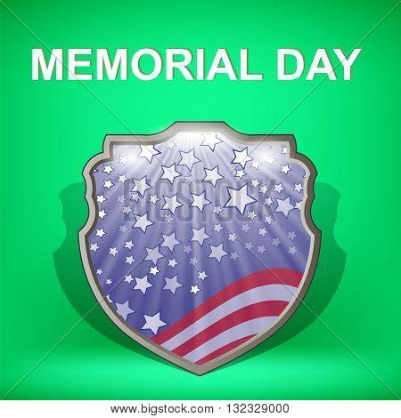 Shield of America. Memorial Day Celebration Poster. Memorial Day American Flag. Memorial Day Shield Background.