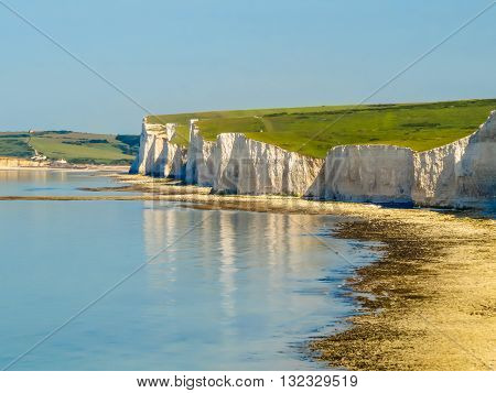 Seven Sisters chalk cliffs Seven Sisters National Park. Eastbourne, East Sussex, England