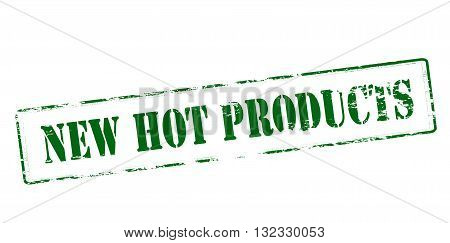 Rubber stamp with text new hot products inside vector illustration