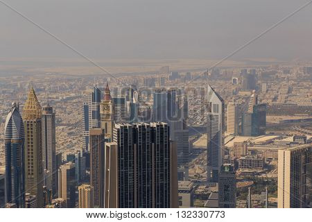 aerial view on downtown of Dubai, UAE