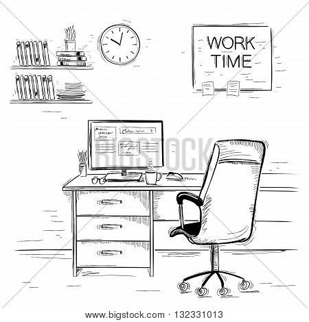 Sketchy Illustration Of Office Interior Room.vector Graphic Image On White