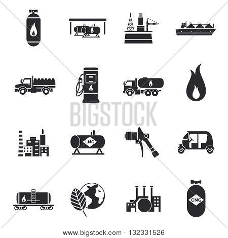 Compressed and liquid natural gas icons with truck factory station cylinder tank flammable sign   isolated vector illustration