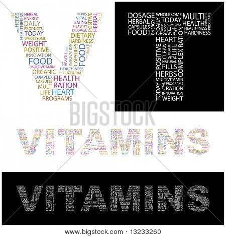 VITAMINS. Word collage. Vector illustration.