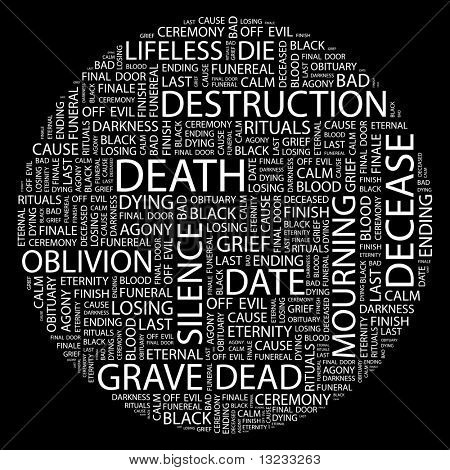 DEATH. Illustration with different association terms in white background.