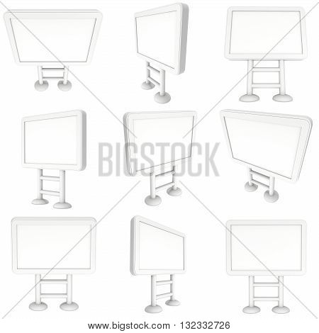 LCD Screen Floor Stand Set. Blank Trade Show Booth Collection. 3d render of lcd screen isolated on white background. High Resolution Floor Stand. Ad template for your expo design.