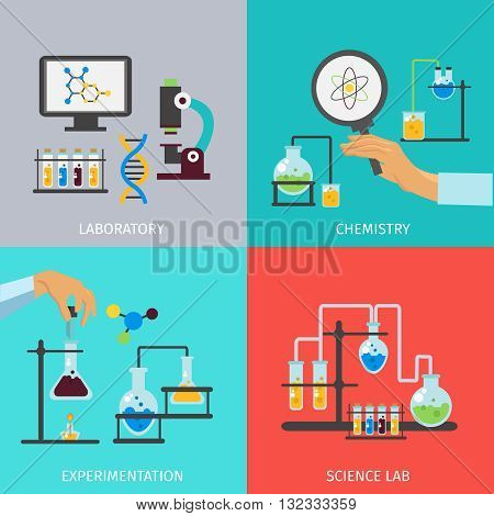 Chemistry lab flat icon set with descriptions of laboratory chemistry experimentation and science lab vector illustration