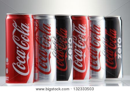 Kuala Lumpur, Malaysia 30th May 2016, Coca-Cola Classic in a glass bottle Isolated on white Background. Coca Cola, Coke is the most popular carbonated soft drink beverages sold around the world