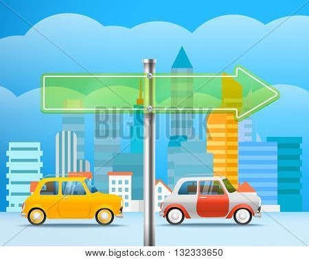 Cityscape with a glass board. City traffic illustration. Direction to the right
