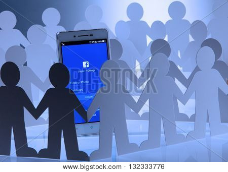 Kuala Lumpur Malaysia, 28th may 2016, of people man surrounding  at social network facebook sign in page on smartphone