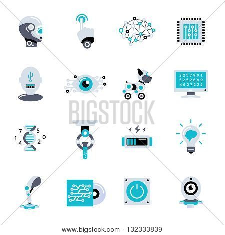 Artificial intelligence flat icon set robotic processes in our life and different robots vector illustration