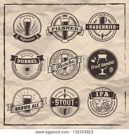 Craft beer labels. Traditional german, belgian and british beer styles. Weissbier, pilsner, rauchbier, dubbel, blanche, fruit lambic, brown ale, stout and IPA. Vintage craft beer emblems