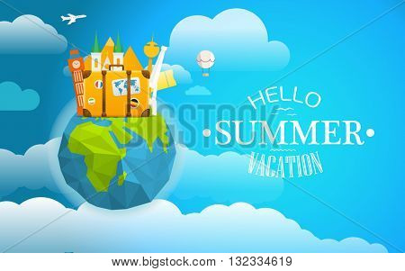 Vacation travelling concept. Luggage and famous world sites on polygon globe. Take vacation concept with the logo and the Earth