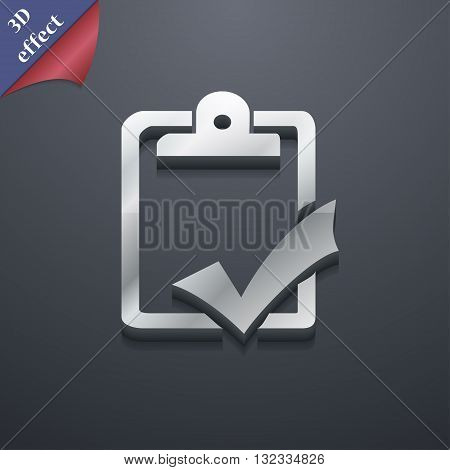 Document Grammar Control, Test, Work Complete Icon Symbol. 3D Style. Trendy, Modern Design With Spac
