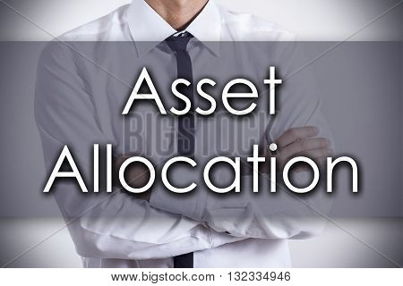 Asset Allocation - Young Businessman With Text - Business Concept