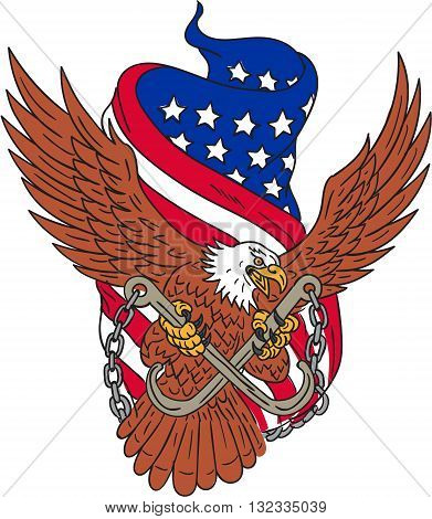 Drawing sketch style illustration of an american bald eagle wings flying looking to the side clutching with its talon towing j hooks with chains viewed from front with an unfurled usa american stars and stripes flag in the background.
