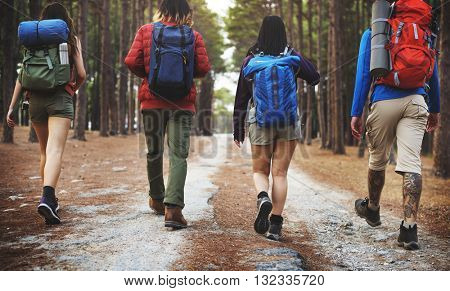Camping Trekking Friendship Backpacker Explore Concept