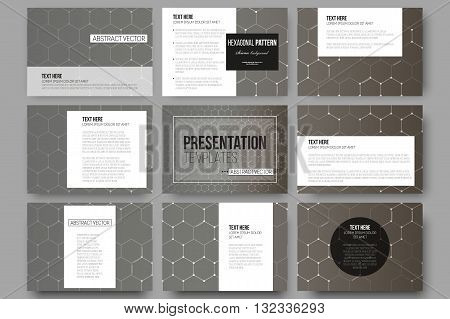 Set of 9 vector templates for presentation slides. Chemistry pattern, hexagonal design vector illustration