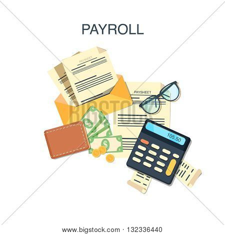 Payroll salary payment and money wages concept. Vector illustration