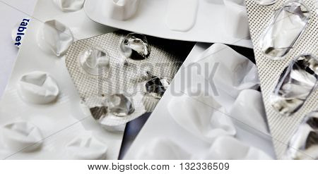 old, gray, paper, dirty, packing, finished, it is thrown, packing from tablets, the background of gray color