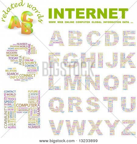 INTERNET. Vector letter collection. Illustration with different association terms.