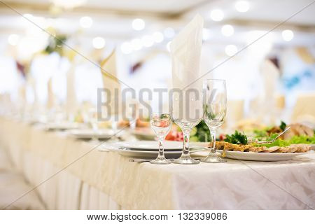 Banquet Table Setting Glass On Evening Reception