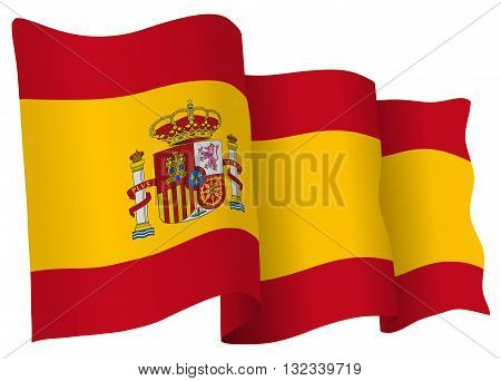 Spanish flag of Spain isolated on white in vector format.