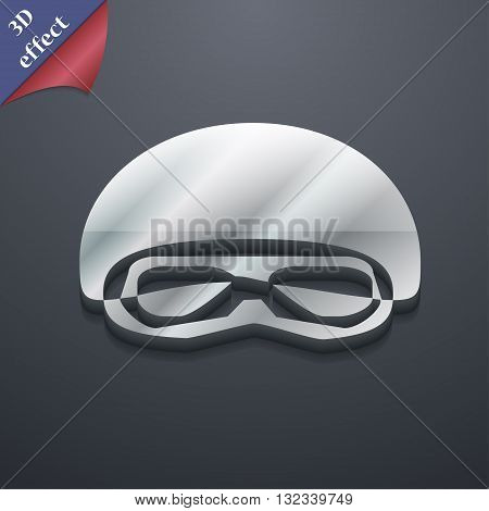 In A Ski Masks, Snowboard Ski Goggles, Diving Mask Icon Symbol. 3D Style. Trendy, Modern Design With