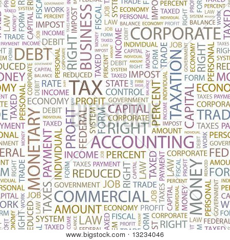 TAX. Seamless vector background. Illustration with different association terms.
