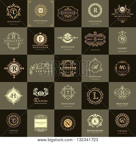 Vector illustration of Line graphics monogram. Vintage Design Templates Set. Business sign Letter emblem. Vector logotypes elements collection Icons Symbols Retro Labels Badges Silhouettes. Premium Collection