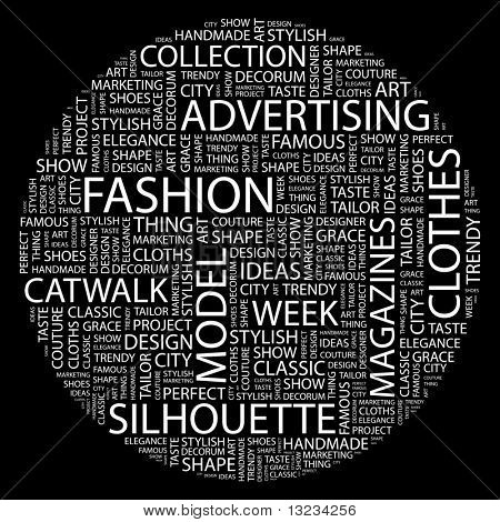 FASHION. Word collage on black background. Word cloud concept illustration of  association terms.