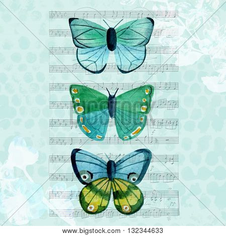Three teal blue watercolor butterflies on a piece of aged sheet music on a faded dotted texture with floral silhouettes