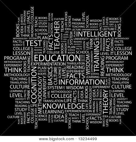 EDUCATION. Word collage on black background. Vector illustration.