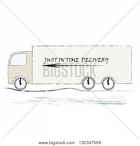 Vector ilustration of truck on the road  on white background