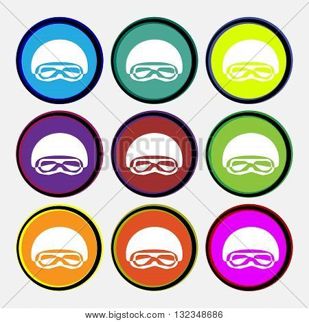 In A Ski Masks, Snowboard Ski Goggles, Diving Mask Icon Sign. Nine Multi Colored Round Buttons. Vect
