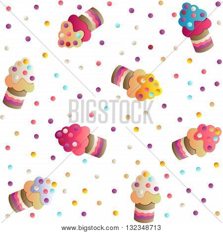 Seamless pattern with a cute appetizing cakes and candies on a white  background